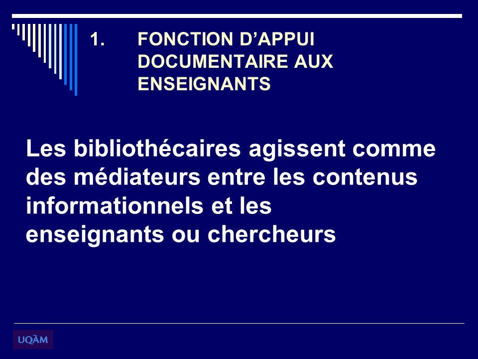 1.FONCTION DAPPUI DOCUMENTAIRE AUX ENSEIGNANTS Les bibliothécaires agissent comme des médiateurs entre les contenus informationnels et les enseignants ou chercheurs