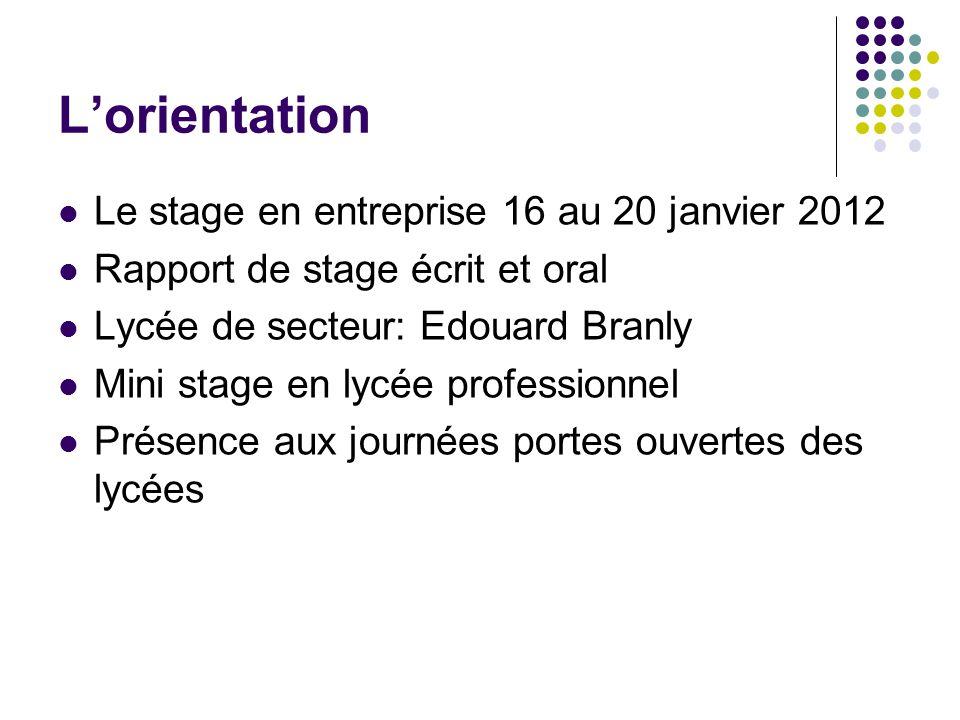 Lorientation Le stage en entreprise 16 au 20 janvier 2012 Rapport de stage écrit et oral Lycée de secteur: Edouard Branly Mini stage en lycée professi