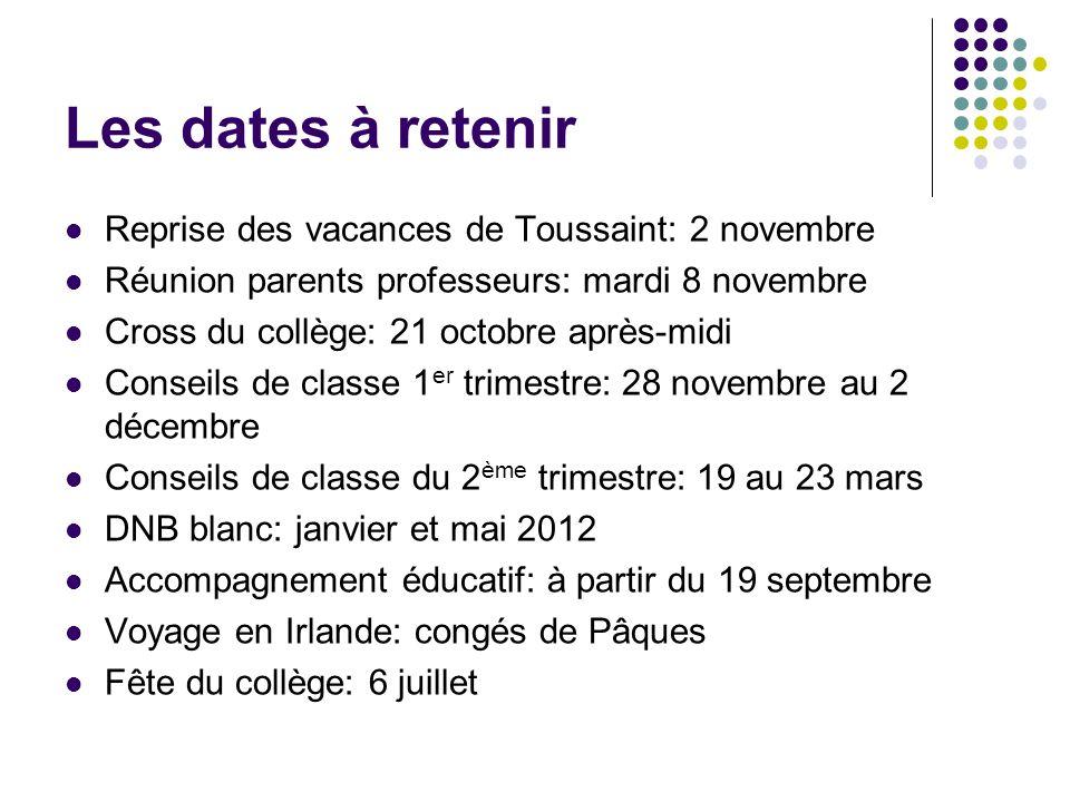Les dates à retenir Reprise des vacances de Toussaint: 2 novembre Réunion parents professeurs: mardi 8 novembre Cross du collège: 21 octobre après-mid