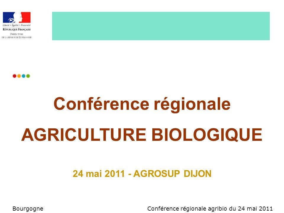 Conférence régionale agribio du 24 mai 2011Bourgogne Lagriculture biologique en Bourgogne source 771 exploitations +23,6% sur 2010 173 conversions, 19 arrêts 3,8% de France 3,9% des exploitations