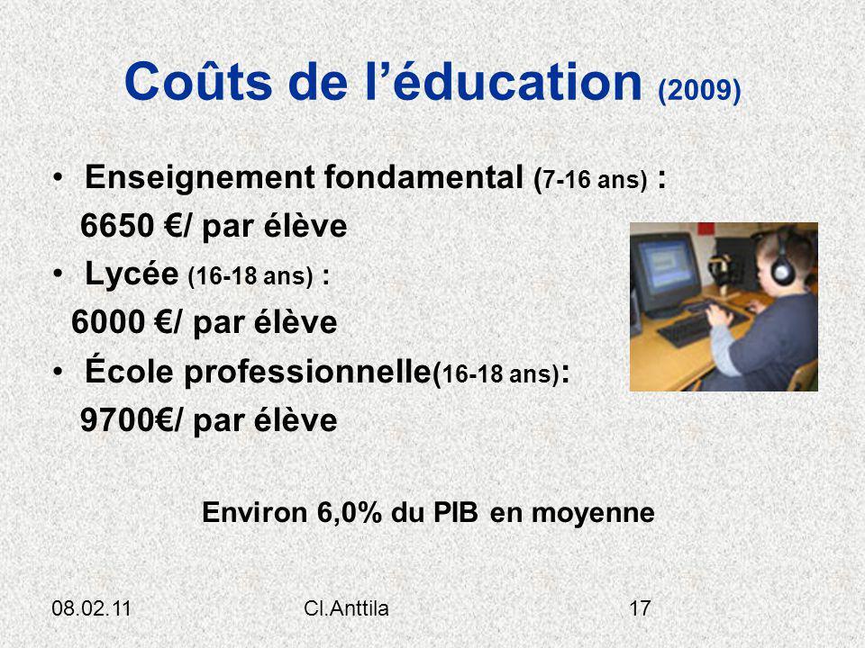 08.02.11Cl.Anttila17 Coûts de léducation (2009) Enseignement fondamental ( 7-16 ans) : 6650 / par élève Lycée (16-18 ans) : 6000 / par élève École pro