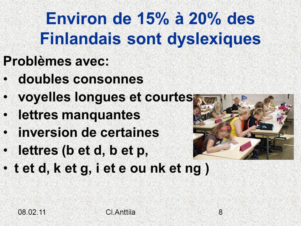 08.02.11Cl.Anttila8 Environ de 15% à 20% des Finlandais sont dyslexiques Problèmes avec: doubles consonnes voyelles longues et courtes lettres manquan