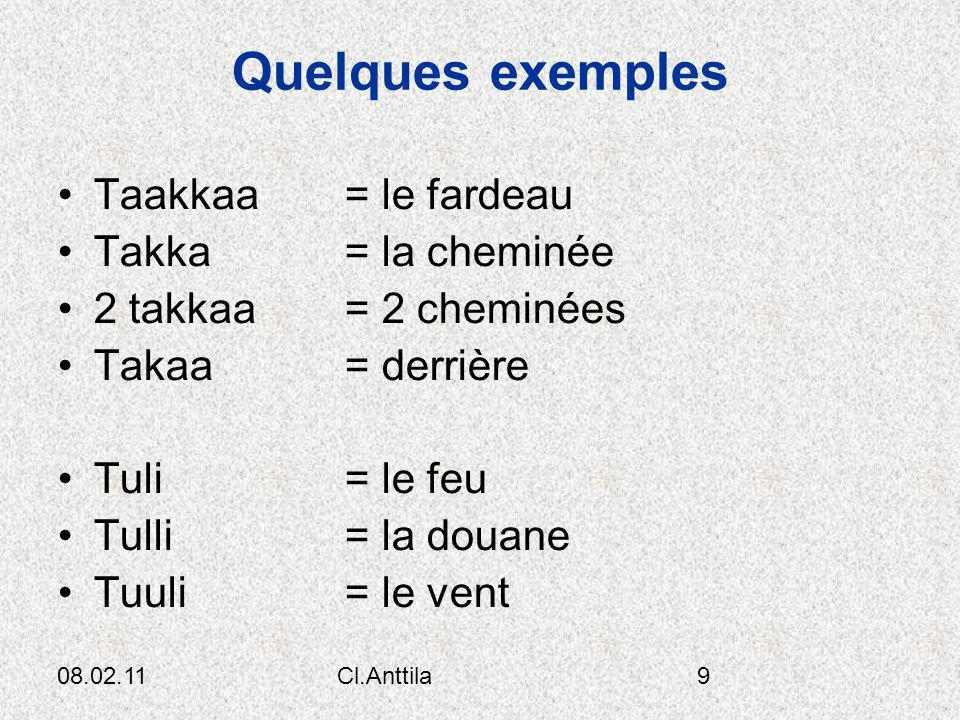 08.02.11Cl.Anttila9 Quelques exemples Taakkaa = le fardeau Takka = la cheminée 2 takkaa = 2 cheminées Takaa = derrière Tuli = le feu Tulli = la douane