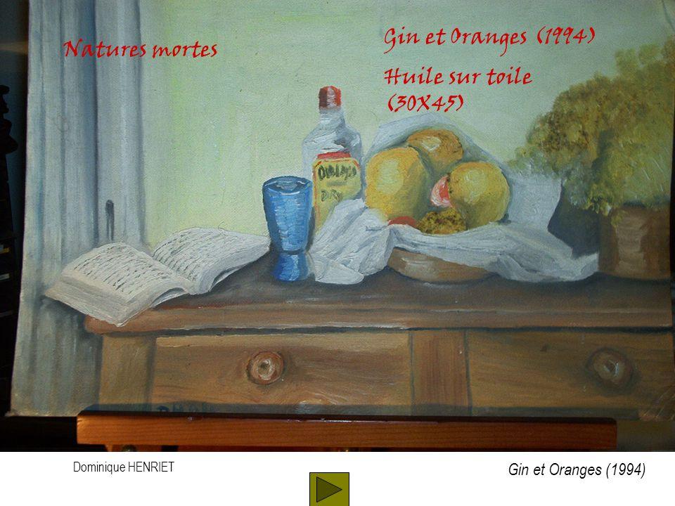Dominique HENRIET Natures mortes Gin et Oranges (1994) Huile sur toile (30X45) Gin et Oranges (1994)