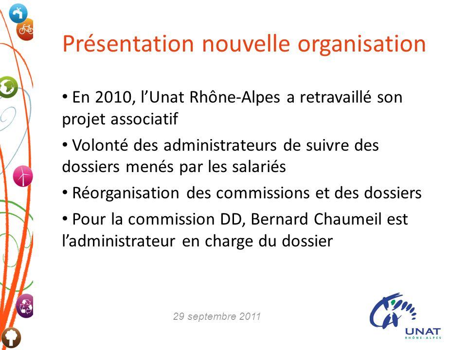 Présentation nouvelle organisation En 2010, lUnat Rhône-Alpes a retravaillé son projet associatif Volonté des administrateurs de suivre des dossiers m