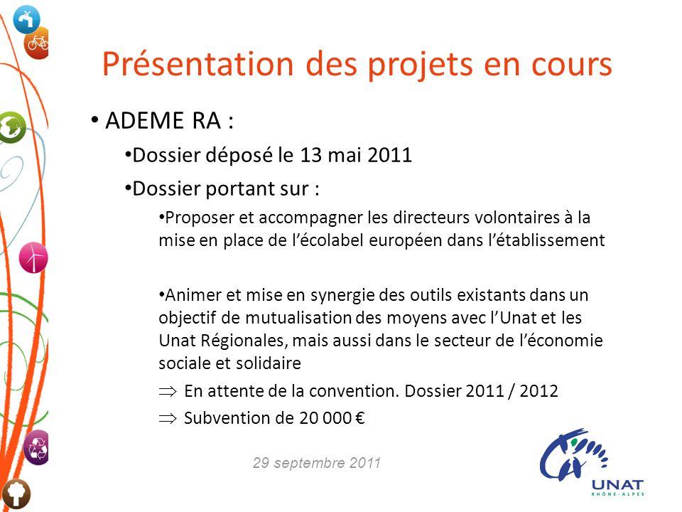 Présentation des projets en cours ADEME RA : Dossier déposé le 13 mai 2011 Dossier portant sur : Proposer et accompagner les directeurs volontaires à