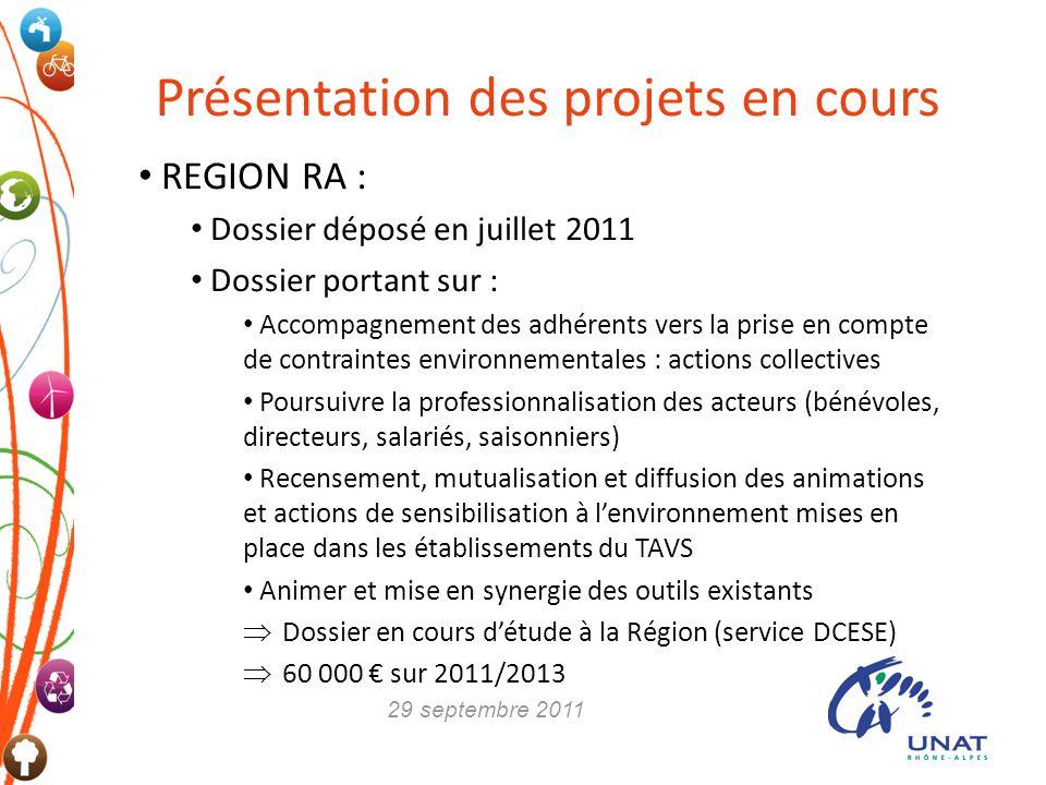 REGION RA : Dossier déposé en juillet 2011 Dossier portant sur : Accompagnement des adhérents vers la prise en compte de contraintes environnementales