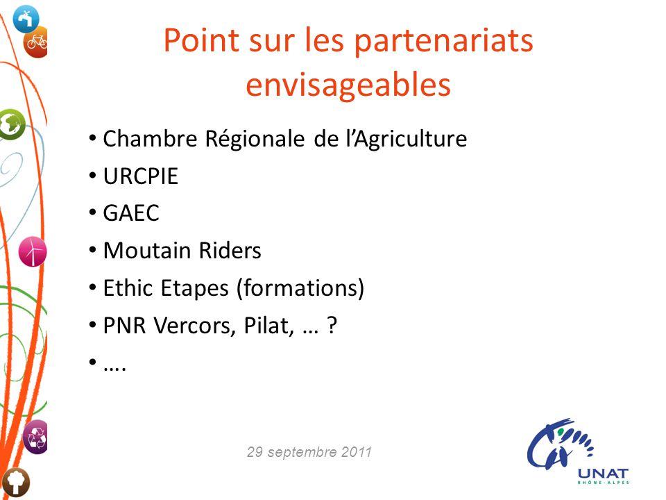 Point sur les partenariats envisageables Chambre Régionale de lAgriculture URCPIE GAEC Moutain Riders Ethic Etapes (formations) PNR Vercors, Pilat, …