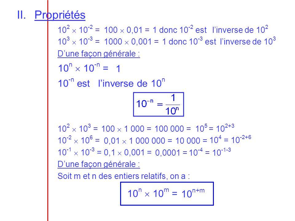 II.Propriétés 10 2 10 -2 = 10 3 10 -3 = D une façon générale : 10 n 10 -n = 10 -n est Soit m et n des entiers relatifs, on a : 10 n 10 m = 10 2 10 3 =