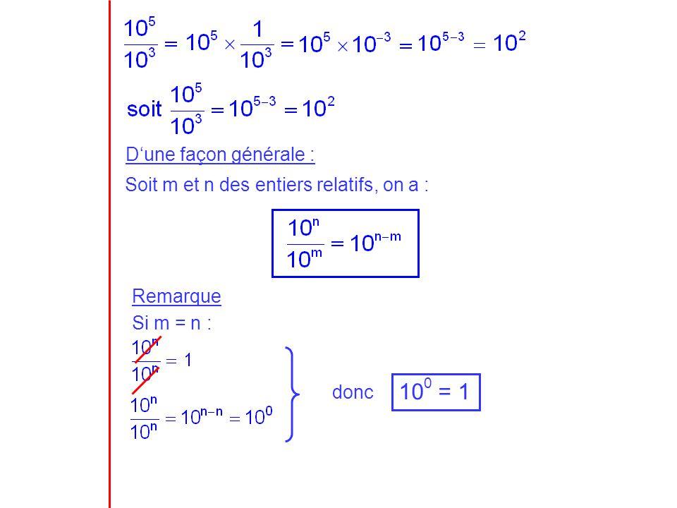 (10 2 ) 3 = (10 -5 ) 2 = Dune façon générale : Soit m et n des entiers relatifs, on a : (10 n ) m = 10 n m III.La notation scientifique 730 000 = 73 000 = 7 300 = 730 = 73 = 7,3 = 0,73 etc… Notation scientifique de 730 000 10 2 10 2 10 2 = 10 6 =10 2 3 10 -5 10 -5 = 10 -10 =10 -5 2 10 1 10 2 10 3 10 4 10 5 10 6
