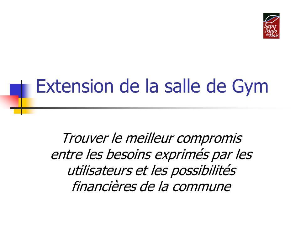 Extension de la salle de Gym Trouver le meilleur compromis entre les besoins exprimés par les utilisateurs et les possibilités financières de la commune