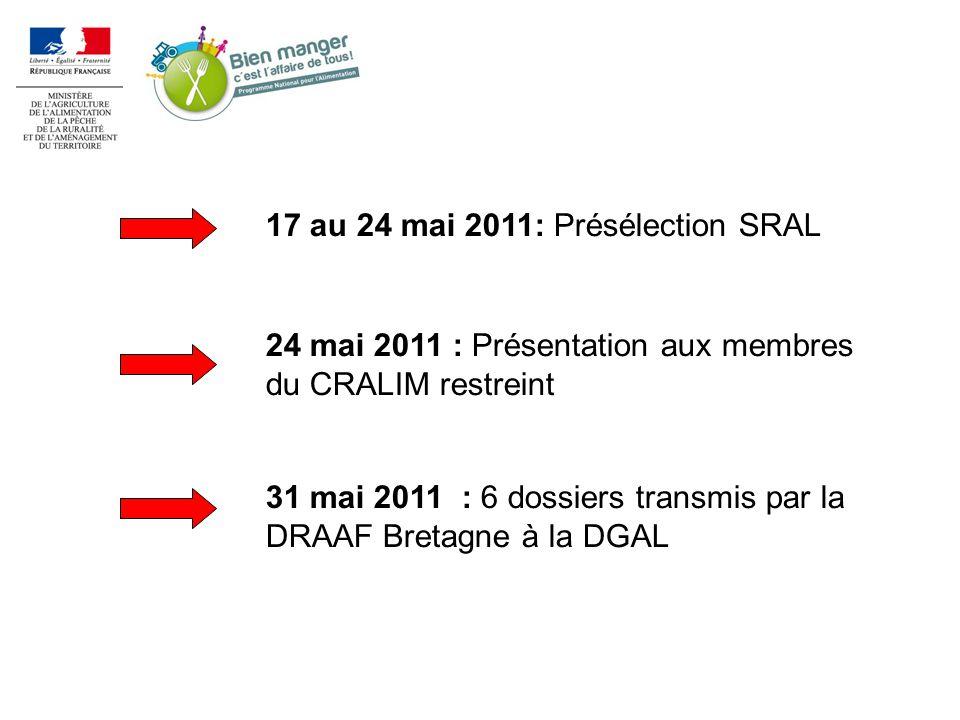 17 au 24 mai 2011: Présélection SRAL 24 mai 2011 : Présentation aux membres du CRALIM restreint 31 mai 2011 : 6 dossiers transmis par la DRAAF Bretagne à la DGAL