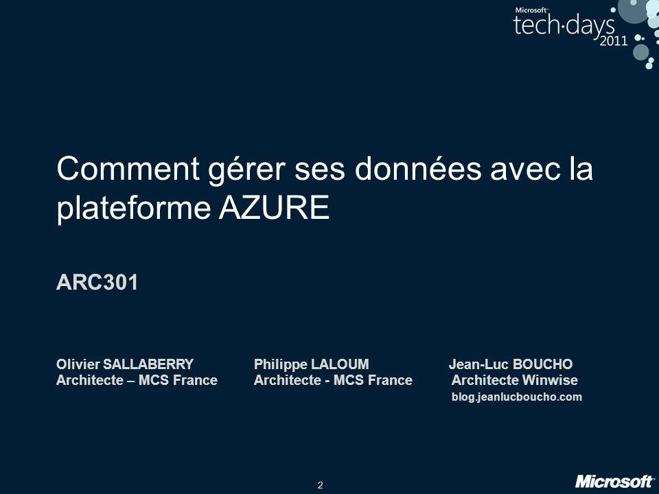 2 Comment gérer ses données avec la plateforme AZURE ARC301 Olivier SALLABERRYPhilippe LALOUM Jean-Luc BOUCHO Architecte – MCS FranceArchitecte - MCS
