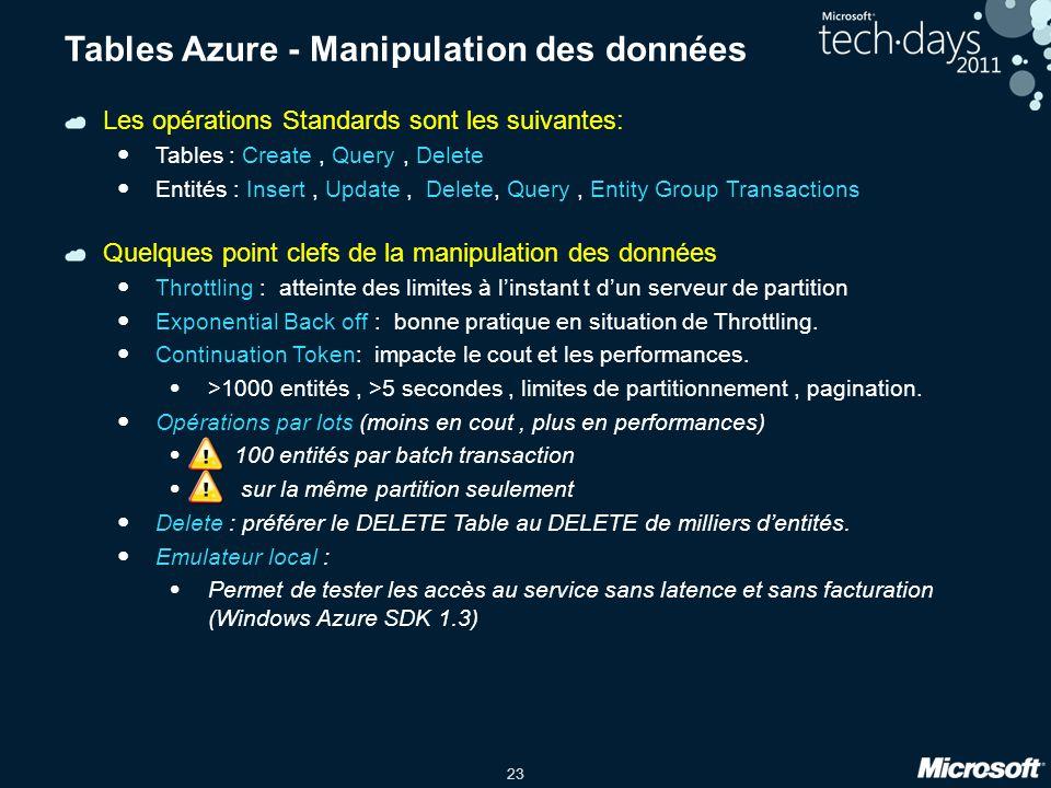 23 Tables Azure - Manipulation des données Les opérations Standards sont les suivantes: Tables : Create, Query, Delete Entités : Insert, Update, Delet