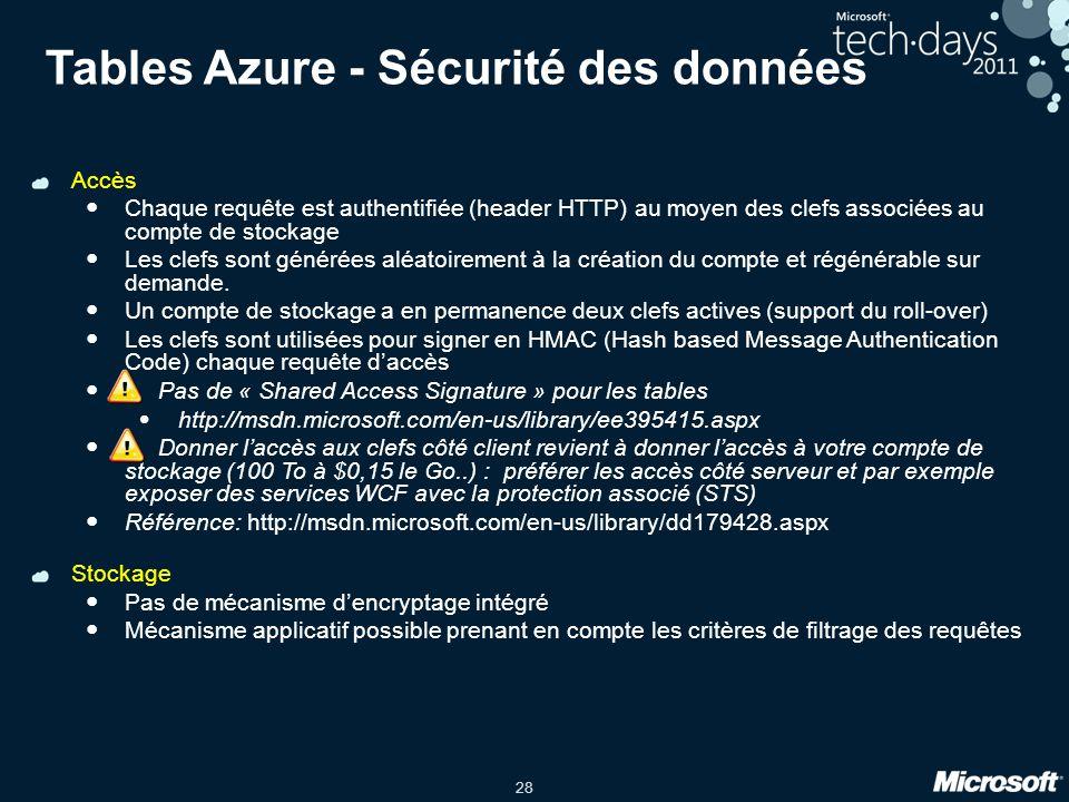 28 Tables Azure - Sécurité des données Accès Chaque requête est authentifiée (header HTTP) au moyen des clefs associées au compte de stockage Les clefs sont générées aléatoirement à la création du compte et régénérable sur demande.