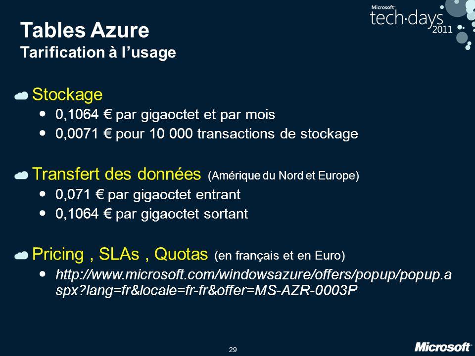 29 Tables Azure Tarification à lusage Stockage 0,1064 par gigaoctet et par mois 0,0071 pour 10 000 transactions de stockage Transfert des données (Amé