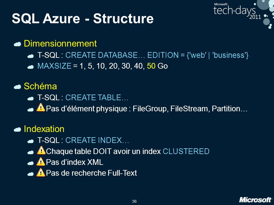 36 SQL Azure - Structure Dimensionnement T-SQL : CREATE DATABASE… EDITION = {'web' | 'business'} MAXSIZE = 1, 5, 10, 20, 30, 40, 50 Go Schéma T-SQL :