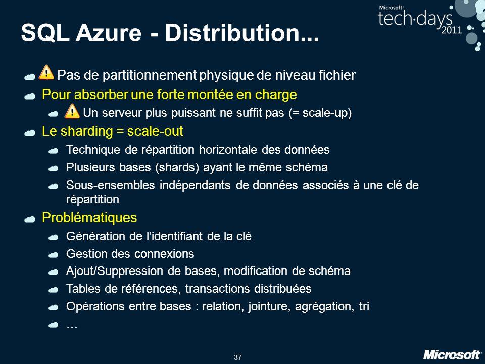 37 SQL Azure - Distribution... ! Pas de partitionnement physique de niveau fichier Pour absorber une forte montée en charge ! Un serveur plus puissant
