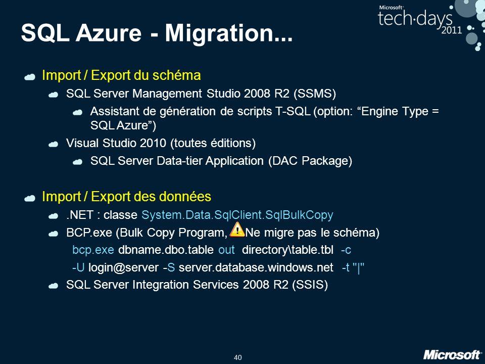 40 SQL Azure - Migration... Import / Export du schéma SQL Server Management Studio 2008 R2 (SSMS) Assistant de génération de scripts T-SQL (option: En