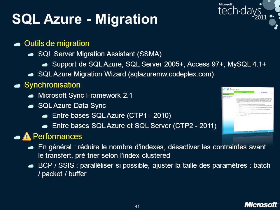 41 SQL Azure - Migration Outils de migration SQL Server Migration Assistant (SSMA) Support de SQL Azure, SQL Server 2005+, Access 97+, MySQL 4.1+ SQL Azure Migration Wizard (sqlazuremw.codeplex.com) Synchronisation Microsoft Sync Framework 2.1 SQL Azure Data Sync Entre bases SQL Azure (CTP1 - 2010) Entre bases SQL Azure et SQL Server (CTP2 - 2011) .