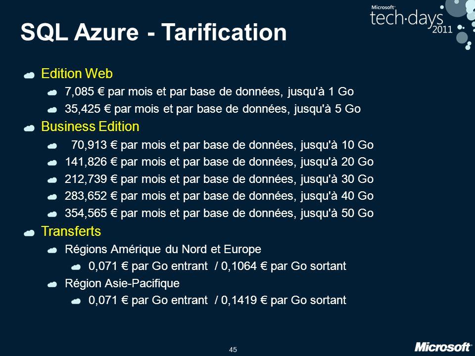 45 SQL Azure - Tarification Edition Web 7,085 par mois et par base de données, jusqu à 1 Go 35,425 par mois et par base de données, jusqu à 5 Go Business Edition 70,913 par mois et par base de données, jusqu à 10 Go 141,826 par mois et par base de données, jusqu à 20 Go 212,739 par mois et par base de données, jusqu à 30 Go 283,652 par mois et par base de données, jusqu à 40 Go 354,565 par mois et par base de données, jusqu à 50 Go Transferts Régions Amérique du Nord et Europe 0,071 par Go entrant / 0,1064 par Go sortant Région Asie-Pacifique 0,071 par Go entrant / 0,1419 par Go sortant