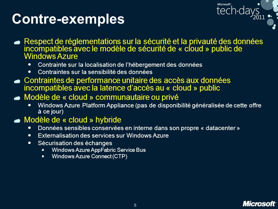 5 Contre-exemples Respect de réglementations sur la sécurité et la privauté des données incompatibles avec le modèle de sécurité de « cloud » public de Windows Azure Contrainte sur la localisation de lhébergement des données Contraintes sur la sensibilité des données Contraintes de performance unitaire des accès aux données incompatibles avec la latence daccès au « cloud » public Modèle de « cloud » communautaire ou privé Windows Azure Platform Appliance (pas de disponibilité généralisée de cette offre à ce jour) Modèle de « cloud » hybride Données sensibles conservées en interne dans son propre « datacenter » Externalisation des services sur Windows Azure Sécurisation des échanges Windows Azure AppFabric Service Bus Windows Azure Connect (CTP)