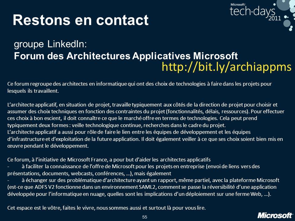 55 Restons en contact groupe LinkedIn: Forum des Architectures Applicatives Microsoft Ce forum regroupe des architectes en informatique qui ont des choix de technologies à faire dans les projets pour lesquels ils travaillent.