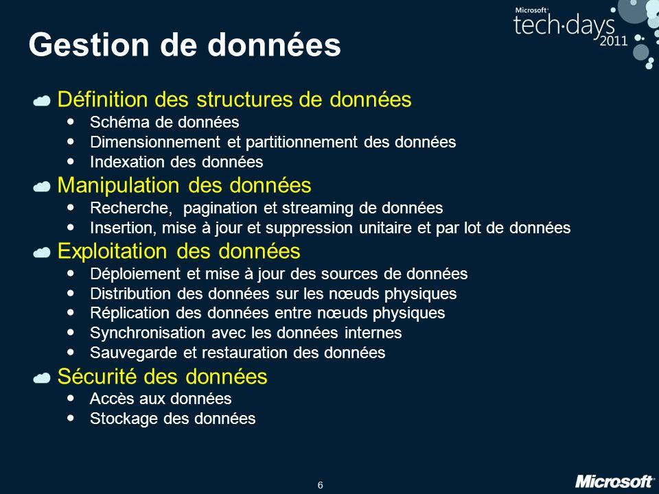 6 Gestion de données Définition des structures de données Schéma de données Dimensionnement et partitionnement des données Indexation des données Mani