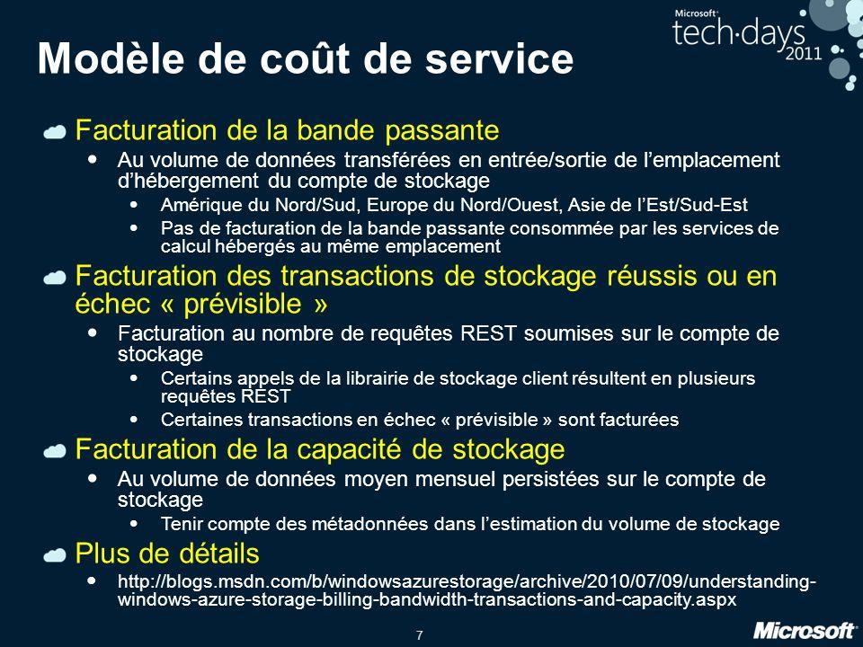 7 Modèle de coût de service Facturation de la bande passante Au volume de données transférées en entrée/sortie de lemplacement dhébergement du compte