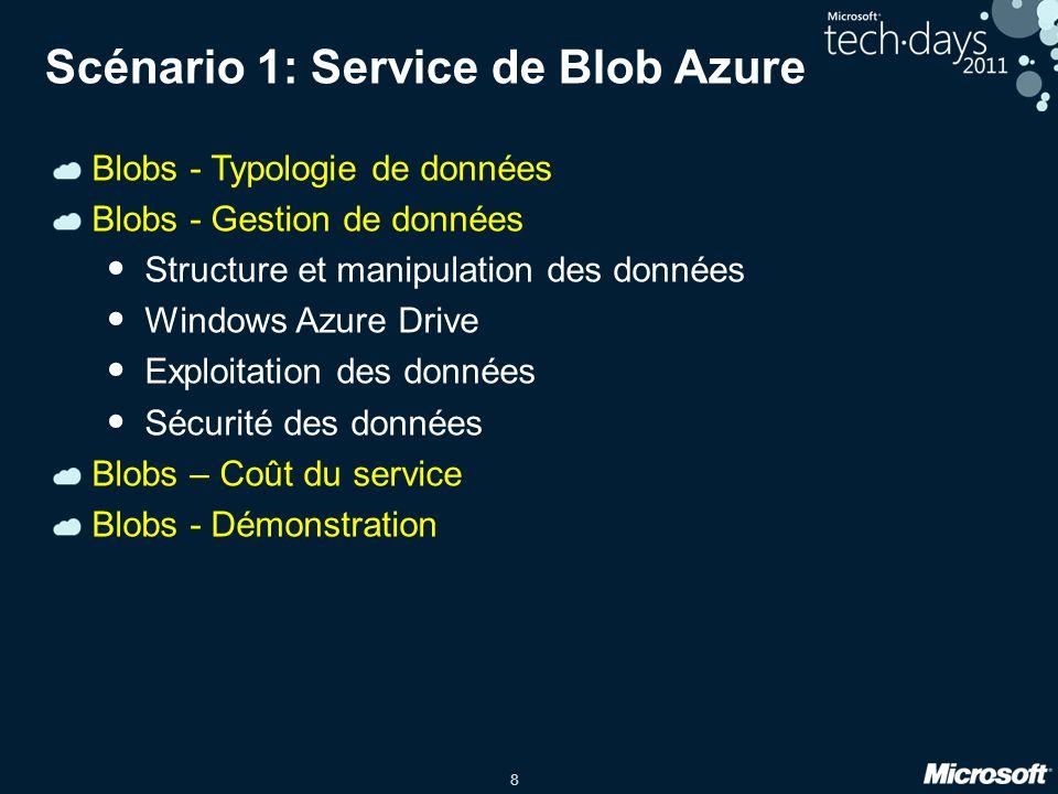 8 Scénario 1: Service de Blob Azure Blobs - Typologie de données Blobs - Gestion de données Structure et manipulation des données Windows Azure Drive Exploitation des données Sécurité des données Blobs – Coût du service Blobs - Démonstration