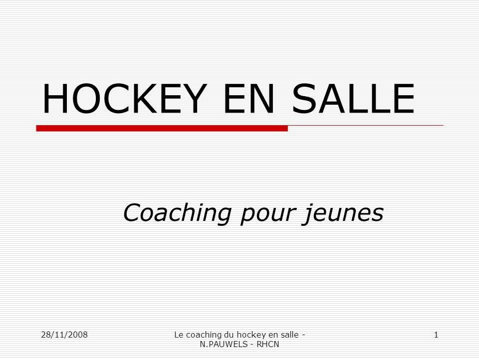 28/11/2008Le coaching du hockey en salle - N.PAUWELS - RHCN 1 HOCKEY EN SALLE Coaching pour jeunes