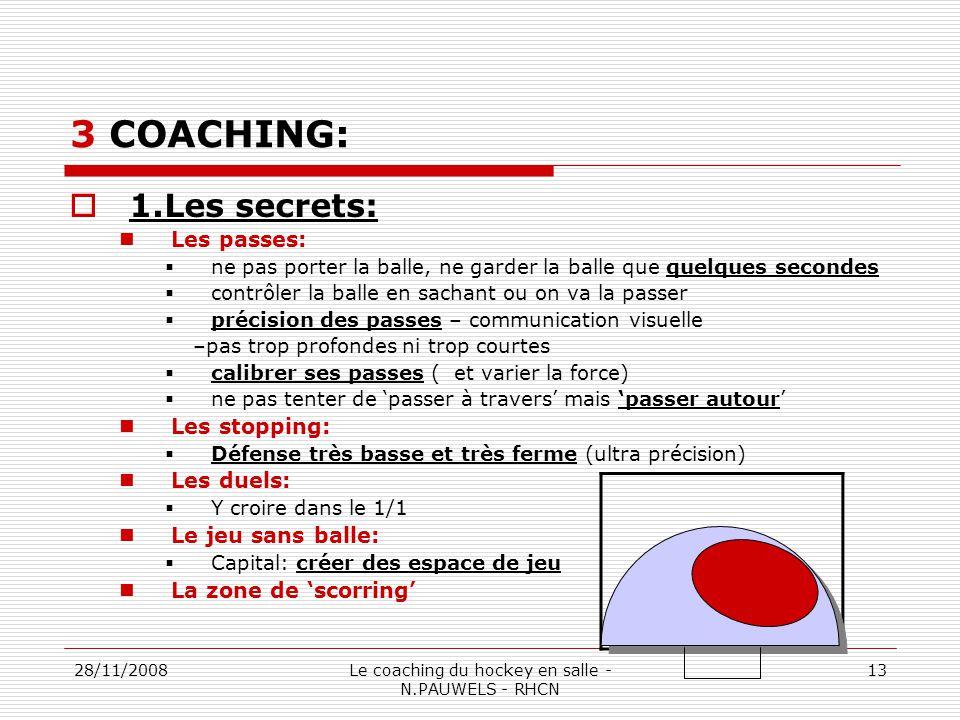 28/11/2008Le coaching du hockey en salle - N.PAUWELS - RHCN 13 3 COACHING: 1.Les secrets: Les passes: ne pas porter la balle, ne garder la balle que quelques secondes contrôler la balle en sachant ou on va la passer précision des passes – communication visuelle –pas trop profondes ni trop courtes calibrer ses passes ( et varier la force) ne pas tenter de passer à travers mais passer autour Les stopping: Défense très basse et très ferme (ultra précision) Les duels: Y croire dans le 1/1 Le jeu sans balle: Capital: créer des espace de jeu La zone de scorring