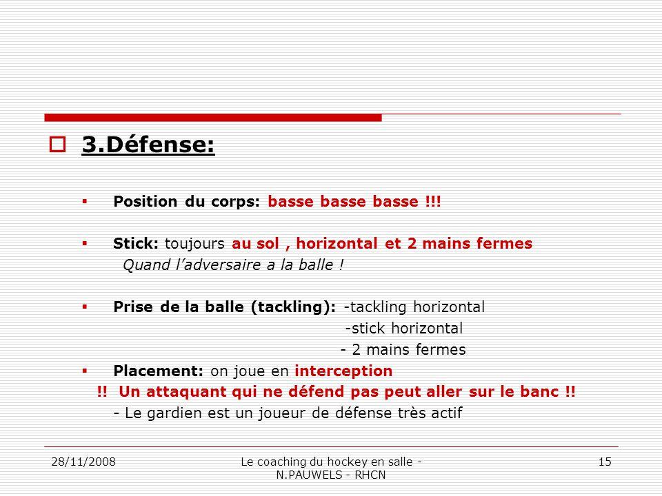 28/11/2008Le coaching du hockey en salle - N.PAUWELS - RHCN 15 3.Défense: Position du corps: basse basse basse !!.