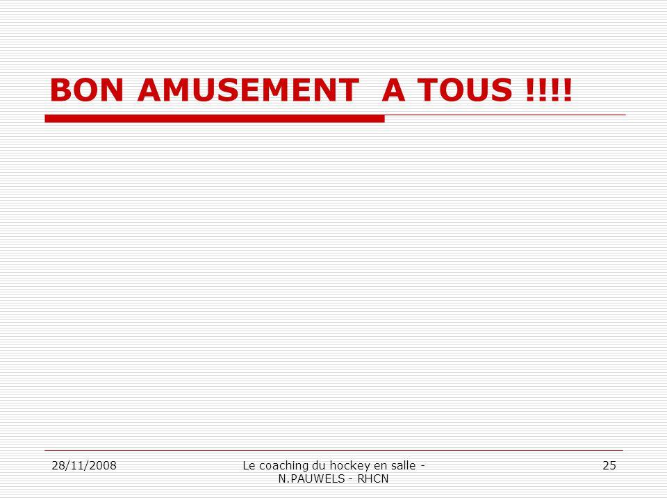 28/11/2008Le coaching du hockey en salle - N.PAUWELS - RHCN 25 BON AMUSEMENT A TOUS !!!!