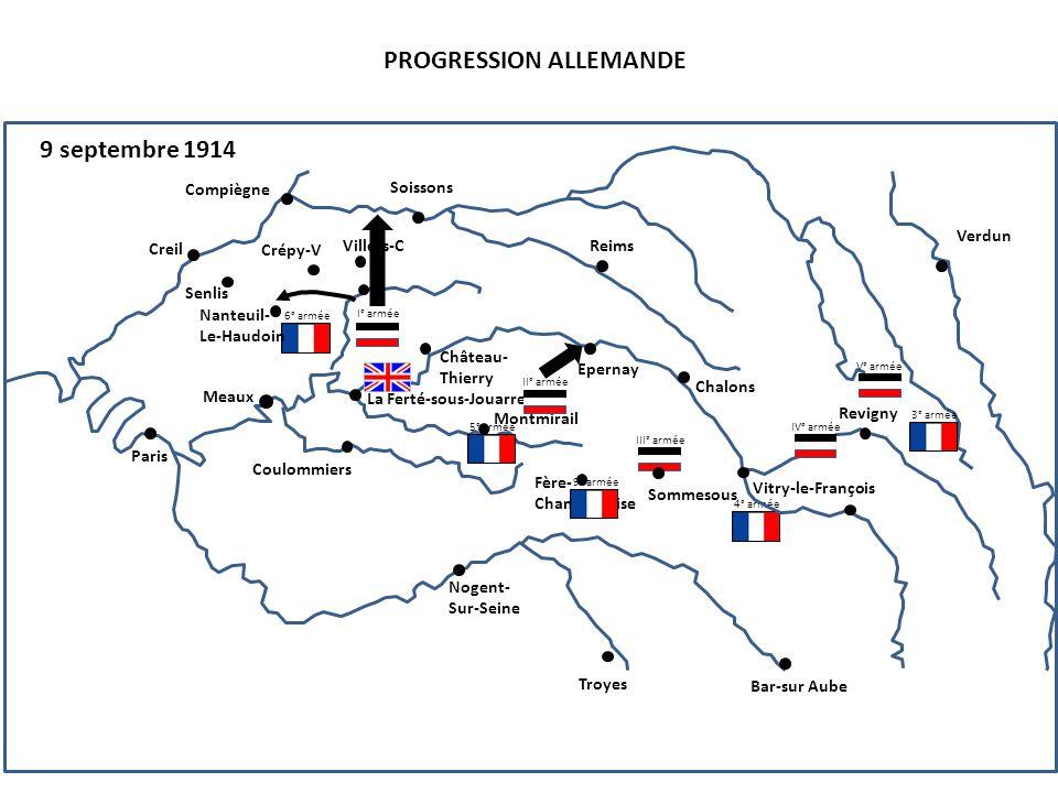 III° armée PROGRESSION ALLEMANDE 9 septembre 1914 4° armée 6° armée Compiègne Senlis Creil Nanteuil- Le-Haudoin Paris Soissons Reims Crépy-V Villers-C