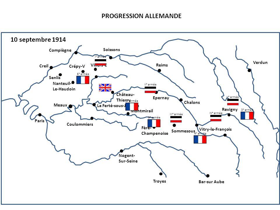 III° armée PROGRESSION ALLEMANDE 10 septembre 1914 4° armée 6° armée Compiègne Senlis Creil Nanteuil- Le-Haudoin Paris Soissons Reims Crépy-V Villers-