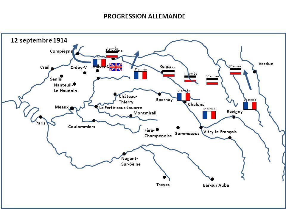 III° armée PROGRESSION ALLEMANDE 12 septembre 1914 4° armée 6° armée Compiègne Senlis Creil Nanteuil- Le-Haudoin Paris Soissons Reims Crépy-V Villers-