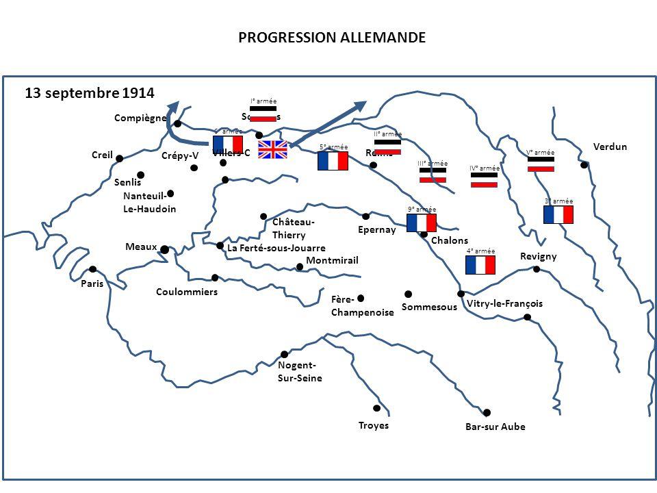 III° armée PROGRESSION ALLEMANDE 13 septembre 1914 4° armée 6° armée Compiègne Senlis Creil Nanteuil- Le-Haudoin Paris Soissons Reims Crépy-V Villers-