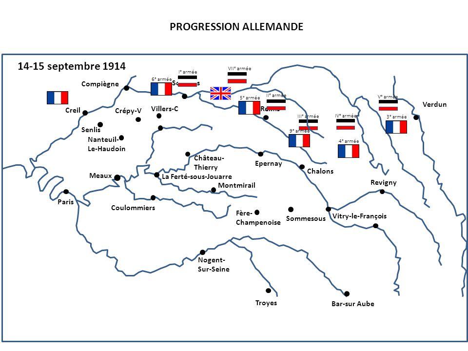 III° armée PROGRESSION ALLEMANDE 14-15 septembre 1914 4° armée Compiègne Senlis Creil Nanteuil- Le-Haudoin Paris Soissons Reims Crépy-V Villers-C Chât