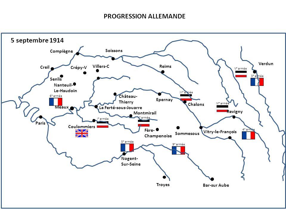 I° armée II° armée III° armée IV° armée V° armée PROGRESSION ALLEMANDE 5 septembre 1914 5° armée 4° armée 6° armée 3° armée 9° armée Compiègne Senlis