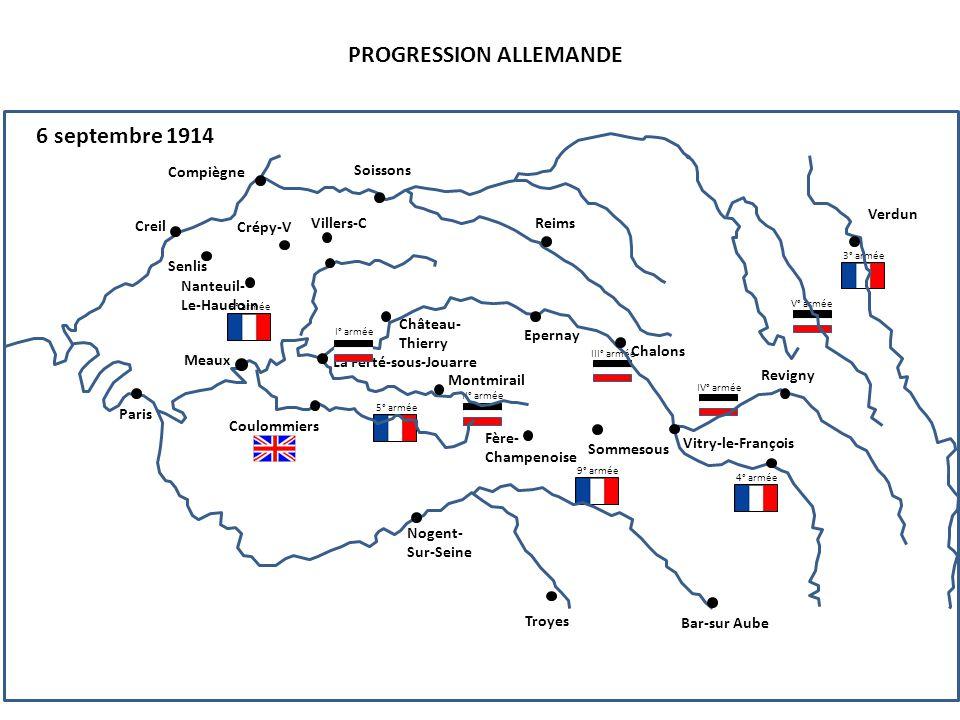 II° armée III° armée IV° armée V° armée PROGRESSION ALLEMANDE 6 septembre 1914 5° armée 4° armée 6° armée 3° armée 9° armée Compiègne Senlis Creil Nan