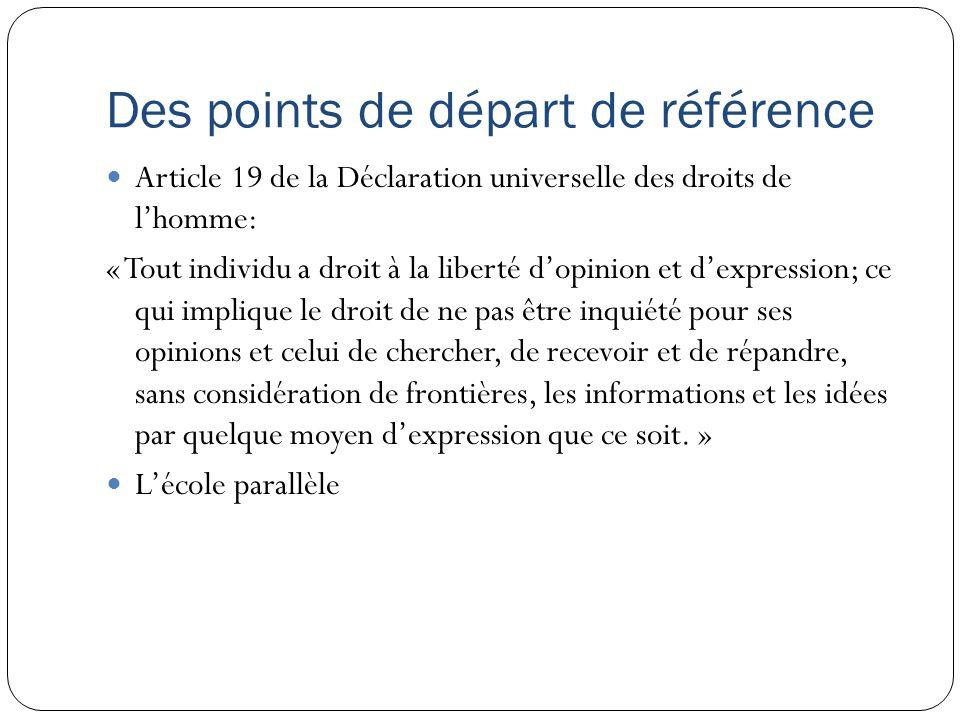 Des points de départ de référence Article 19 de la Déclaration universelle des droits de lhomme: « Tout individu a droit à la liberté dopinion et dexp