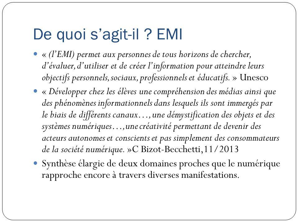 De quoi sagit-il ? EMI « (lEMI) permet aux personnes de tous horizons de chercher, dévaluer, dutiliser et de créer linformation pour atteindre leurs o