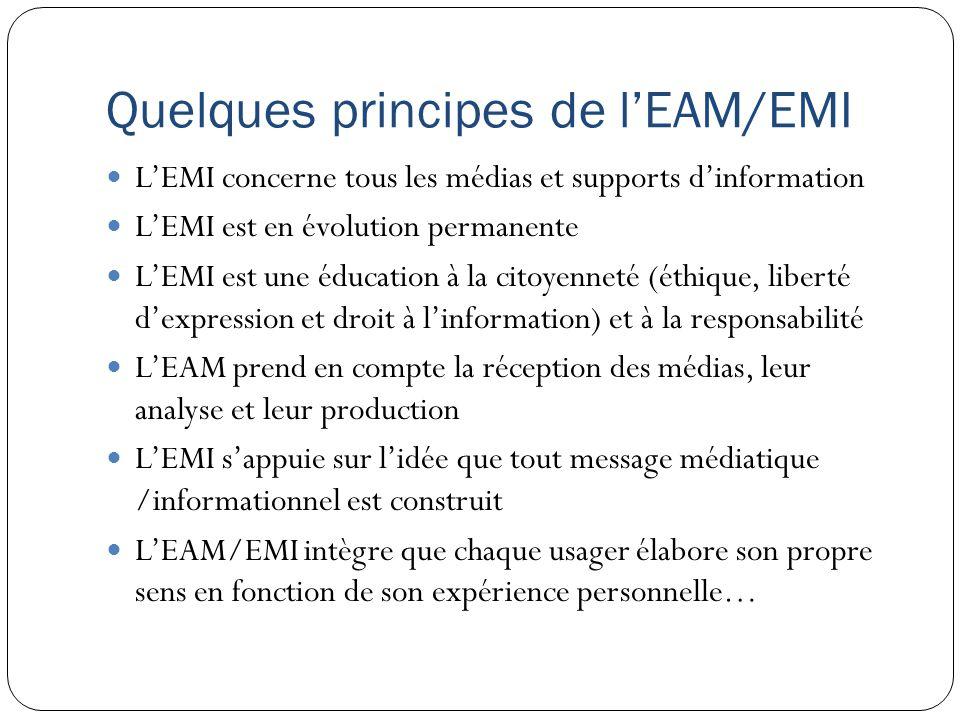 Quelques principes de lEAM/EMI LEMI concerne tous les médias et supports dinformation LEMI est en évolution permanente LEMI est une éducation à la cit