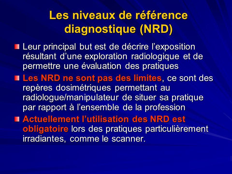 Les niveaux de référence diagnostique (NRD) Leur principal but est de décrire lexposition résultant dune exploration radiologique et de permettre une