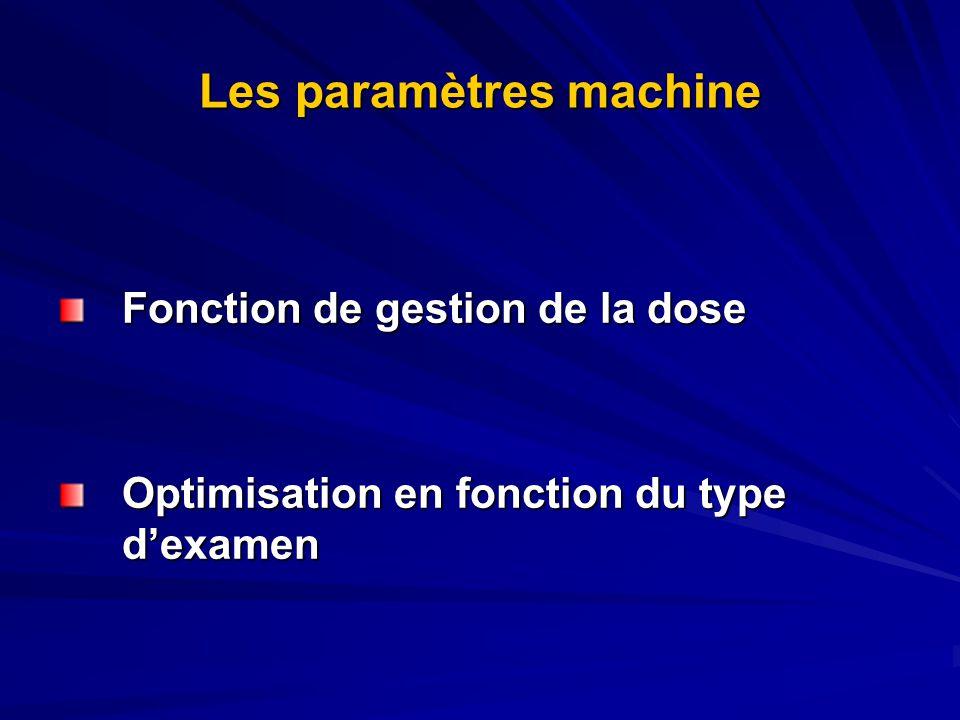 Les paramètres machine Fonction de gestion de la dose Optimisation en fonction du type dexamen Optimisation en fonction du type dexamen