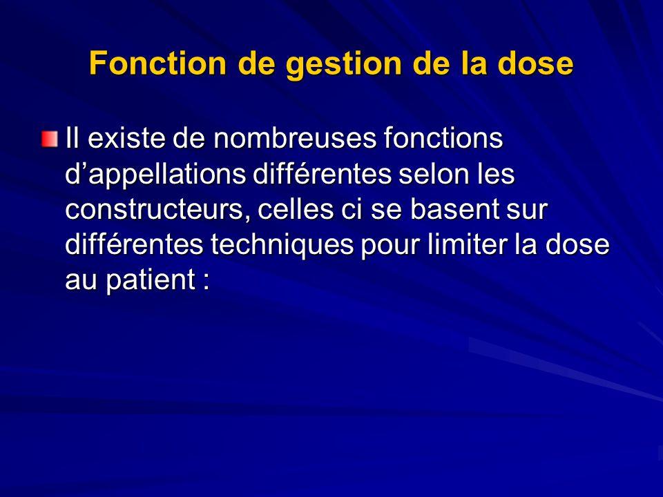 Fonction de gestion de la dose Il existe de nombreuses fonctions dappellations différentes selon les constructeurs, celles ci se basent sur différentes techniques pour limiter la dose au patient :