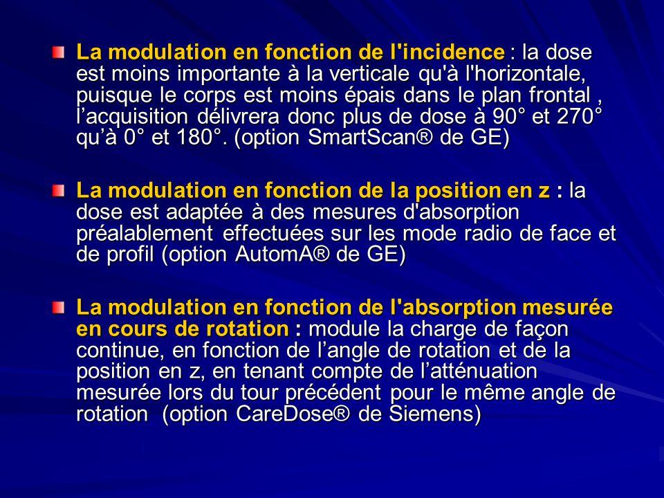 La modulation en fonction de l incidence : la dose est moins importante à la verticale qu à l horizontale, puisque le corps est moins épais dans le plan frontal, lacquisition délivrera donc plus de dose à 90° et 270° quà 0° et 180°.