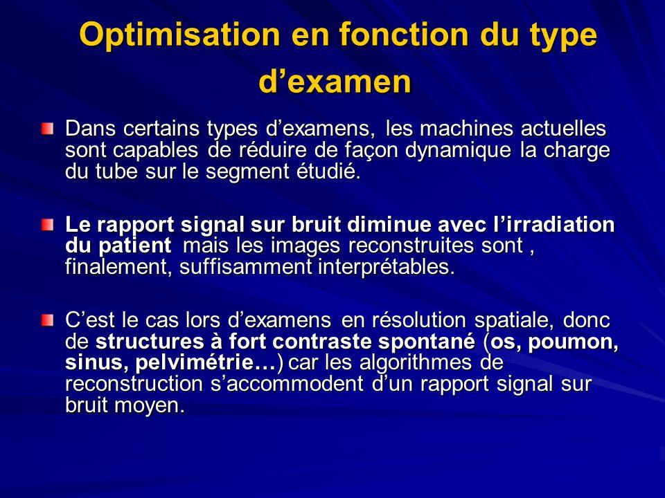 Optimisation en fonction du type dexamen Optimisation en fonction du type dexamen Dans certains types dexamens, les machines actuelles sont capables de réduire de façon dynamique la charge du tube sur le segment étudié.