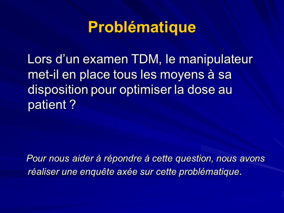 Problématique Lors dun examen TDM, le manipulateur met-il en place tous les moyens à sa disposition pour optimiser la dose au patient ? Lors dun exame